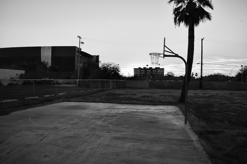 A B&W of a small basketball court just east of Central.