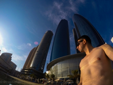 Etihad Towers from the Persian Gulf.