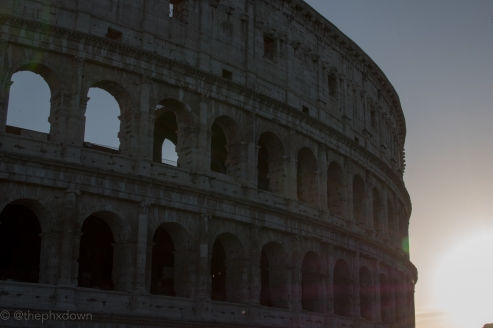 Colosseum at dusk.