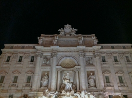 Trevi Fountain and the night.