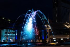 Dancing water in front of Aria.